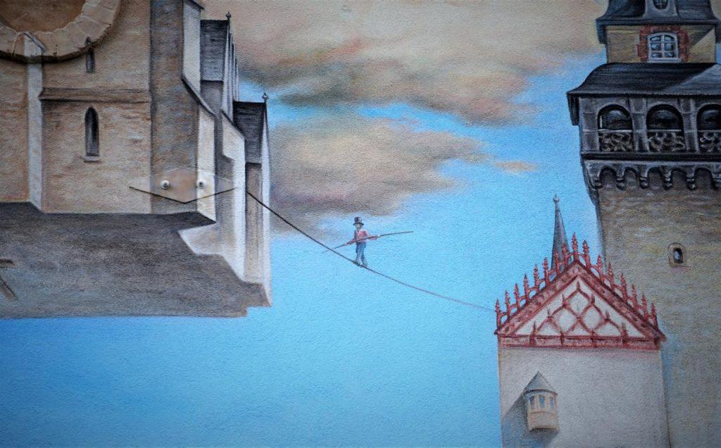 Nahaufnahme eines Wandbildes von Uwe Starke